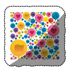 sticker colorful pattern formed by dialogue social vector image