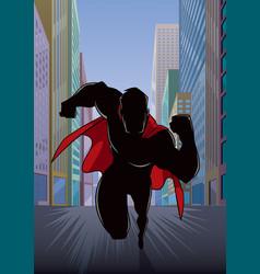 Superhero running in city silhouette vector