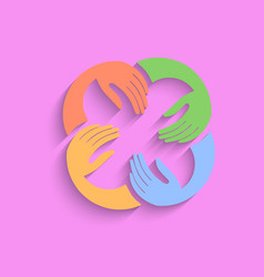 teamwork hands logo template pink vector image