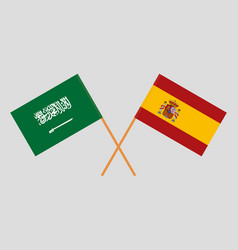 The spanish and ksa flags vector