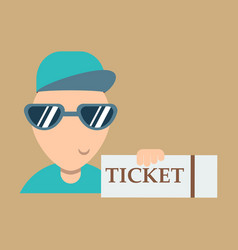 tickets flat isometric concept young man take big vector image