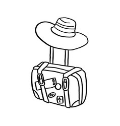 Travel bag with hat sketch hand vector