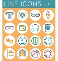 Travel line icons set web design elements vector image