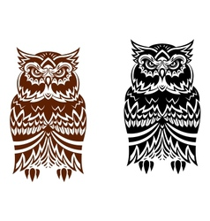 Tribal owl with decorative ornament vector image