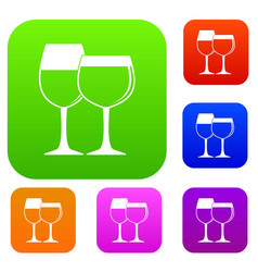 two glasses of wine set color collection vector image