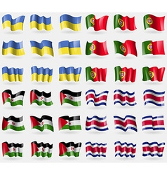 Ukraine portugal western sahara costa rica set of vector