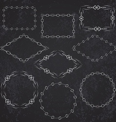 Vintage retro frame set on chalkboard background vector