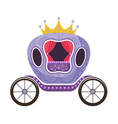Violet fairytale royal carriage on a white vector