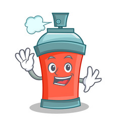 Waving aerosol spray can character cartoon vector