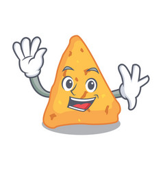 Waving nachos character cartoon style vector