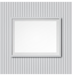 White striped wall with frame vector
