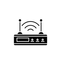 wi-fi router black icon sign on isolated vector image