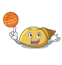 With basketball mollusk shell character cartoon vector