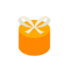 yellow circle gift box isometric object vector image