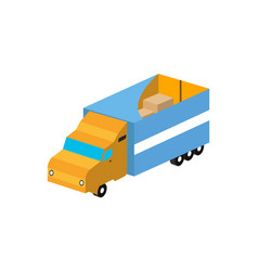 commercial freight truck isometric isolated icon vector image vector image