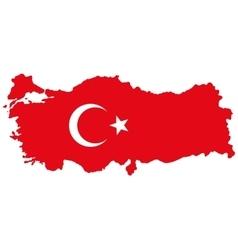 Map of Turkey Turkish flag vector image