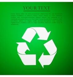 Recycle symbol flat icon on green background vector image vector image