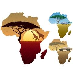Africa Map Landscapes vector image