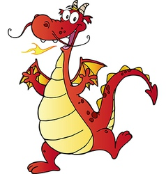 Happy red dragon cartoon character vector