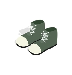 Pair of green boots icon isometric 3d style vector image