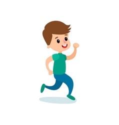 smiling little boy character running kids vector image