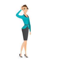 young caucasian business woman scratching her head vector image vector image