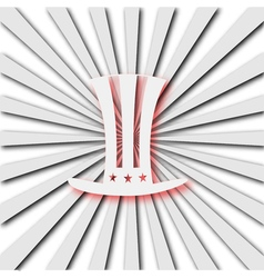 American hat on radiant background vector image vector image