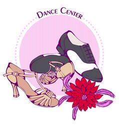 Dance line color ballroom latina shoes vector