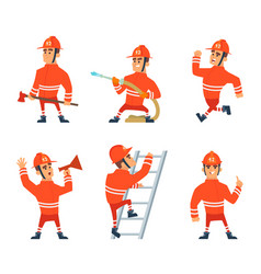 fireman on the work different action poses vector image vector image