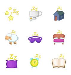 preparation to sleep icons set cartoon style vector image