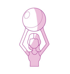 Silhouette healthy woman doing exercise with ball vector
