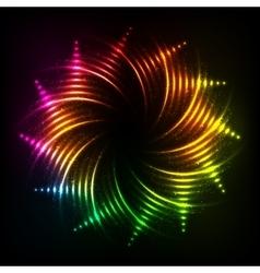 Abstract rainbow neon spirals cosmic frame vector