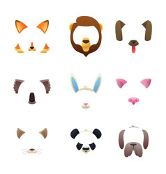 animal faces for video or photo filters vector image
