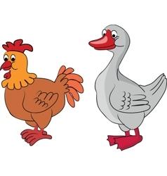 Cartoon goose and chicken vector image vector image