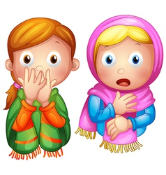 Cartoon Winter Boy Girl vector image vector image