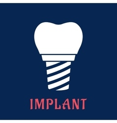 Dental implant with replacement crown vector image