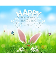 Easter Template background Rabbit ears sticking vector image vector image