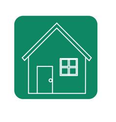 Label nice house with door window and roof vector