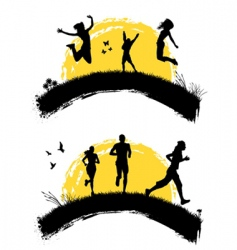 people jumping silhouette vector image