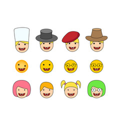 set of down syndrome kid icon in flat style vector image