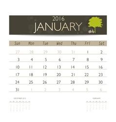 2016 calendar monthly calendar template for vector image