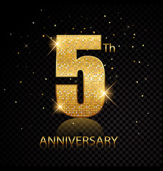 5th anniversary golden numbers isolated on black vector