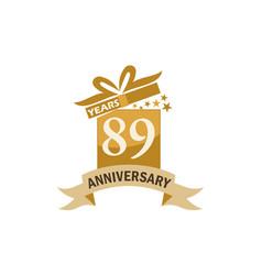 89 years gift box ribbon anniversary vector