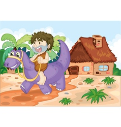 a boy riding on dinosaur vector image