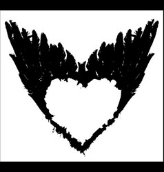 Abstract white heart on black wings vector