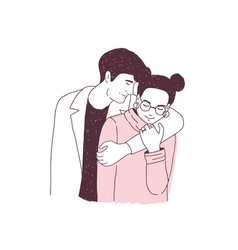 Adorable couple on romantic date young man vector