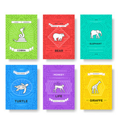 Animal thin line brochure cards set exotic vector
