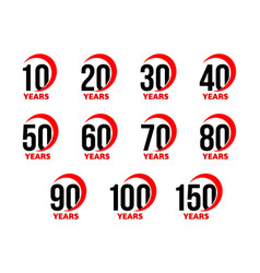 Anniversary sign set black numbers with red vector