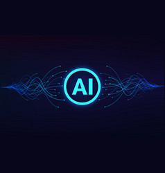 artificial intelligence ai text in center vector image