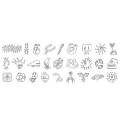 Bacteria virus outlineline set icon vector